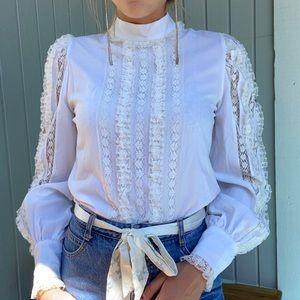 Vintage lace mock neck Prairie shirt